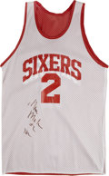 Basketball Collectibles:Uniforms, Moses Malone Practice Worn and Signed 76ers Jersey....
