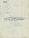 Autographs:Letters, 1923 Ban Johnson Signed Typed Letter....
