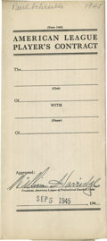 Autographs:Others, 1945 William Harridge Signed Player Contract....