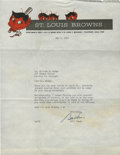 Autographs:Letters, 1951 Bill Veeck Signed Typed Letter....