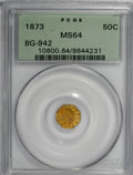 California Fractional Gold, 1873 50C Indian Octagonal 50 Cents, BG-942, Low R.5, MS64 PCGS....