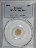 California Fractional Gold, 1859 25C Liberty Octagonal 25 Cents, BG-705, High R.6, GenuinePCGS....