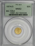 California Fractional Gold, 1874/3 50C Indian Round 50 Cents, BG-1052, High R.4, MS62 PCGS....