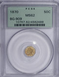 California Fractional Gold: , 1870 50C Liberty Octagonal 50 Cents, BG-909, R.6, MS62 PCGS. PCGSPopulation (5/12). NGC Census: (0/1). (#10767). From ...
