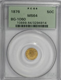 California Fractional Gold, 1876 50C Indian Round 50 Cents, BG-1060, High R.5, MS64 PCGS....