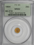 California Fractional Gold, 1854 25C Liberty Round 25 Cents, BG-216, R.6, MS62 PCGS....