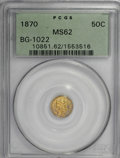 California Fractional Gold, 1870 50C Liberty Round 50 Cents, BG-1022, High R.6, MS62 PCGS....