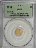 California Fractional Gold, 1854 $1 Liberty Octagonal 1 Dollar, BG-532, Low R.4, AU58 PCGS....