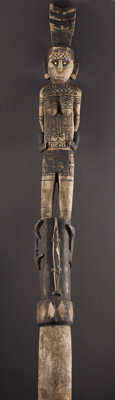 Oceanic Solomon Islands House Post Wood, pigment, shell Height: 109 ¾ inches Width: 9 5/8 inches Depth: 9 inches...