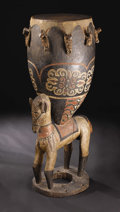 African: , Baga (Guinea). Caryatid Drum with Horse Support (timba). Wood, paint, hide, fiber