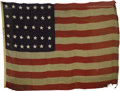 Military & Patriotic:Civil War, 34-Star U. S. Building/Capitol Flag made by Foster of New York Circa 1863 A monumental size 34-star Civil War flag, made to ...