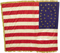 Military & Patriotic:Civil War, U.S. Regimental Silk Flag, 35 Hand Painted Gold Stars, with Gold Silk Fringe, ca. 1863. A regulation size U.S. Army regiment...