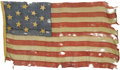 "Military & Patriotic:Civil War, Very Rare U.S. Navy ""Boat Ensign"" Captured at Battery Wagner in 1863. This boat ensign is of the type used on U.S. Navy laun..."