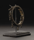 African: , Lower Niger (Nigeria). Cuff with Danglers. Copper alloy. Diameter:3 ½ inches. This is a nice example of a widely found ty...