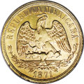 Mexico: , Mexico: Republic gold 20 Pesos 1871 Mo-M, KM414.6, lustrous AU withnormal softness in the central area and minor rim bumps....