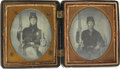 Military & Patriotic:Civil War, CASED PAIR OF SIXTH PLATE TINTYPES SHOWING ARMED FEDERALS....