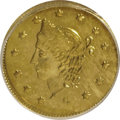 California Fractional Gold: , 1867 50C Liberty Round 50 Cents, BG-1018, High R.4, MS63 PCGS. PCGSPopulation (7/1). (#10847)...