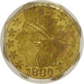 California Fractional Gold: , 1880 25C Indian Octagonal 25 Cents, BG-799X, R.3, MS64 PCGS. PCGSPopulation (55/16). NGC Census: (20/12). (#10650)...