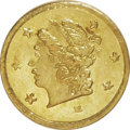 California Fractional Gold: , 1871 25C Liberty Round 25 Cents, BG-809, Low R.4, MS64 PCGS. PCGSPopulation (28/23). NGC Census: (6/4). (#10670)...