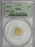 California Fractional Gold, 1872 $1 Indian Octagonal 1 Dollar, BG-1120, Low R.5, MS63 PCGS....