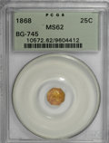 California Fractional Gold, 1868 25C Liberty Octagonal 25 Cents, BG-745, Low R.6, MS62 PCGS....