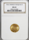 Commemorative Gold: , 1926 $2 1/2 Sesquicentennial MS65 NGC. NGC Census: (852/87). PCGSPopulation (1672/111). Mintage: 46,019. Numismedia Wsl. P...