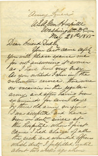 """Charles A. Leale Autograph Letter Signed """"Chas. A. Leale"""", 8 pages, 5"""" x 8"""", """"Armory Square&quo..."""