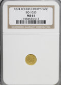 California Fractional Gold: , 1874 50C Liberty Round 50 Cents, BG-1033, R.5, MS61 NGC. NGCCensus: (1/0). PCGS Population (2/15). (#10862)...