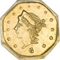 California Fractional Gold, 1867 25C Liberty Octagonal 25 Cents, BG-742, Low R.7, MS62 PCGS....