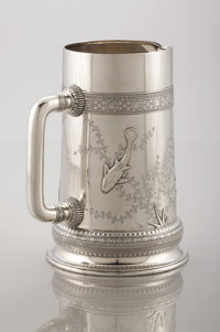 AN AMERICAN SILVER PITCHER Tiffany & Co., New York, New York, circa 1875 Marks: TIFFANY & CO., 3854 MAKERS 6