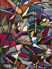 ANDRÉ LANSKOY (Russian, 1902-1976) Abstract Composition, circa 1960 Gouache on paper 19 x 25 inch