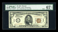 Small Size:World War II Emergency Notes, Fr. 2301 $5 1934 Hawaii Mule Federal Reserve Note. PMG Superb GemUnc 67 EPQ.. ...