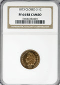Proof Indian Cents, 1873 1C Closed 3 PR64 Cameo NGC....