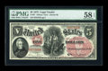 Large Size:Legal Tender Notes, Fr. 67 $5 1875 Legal Tender PMG Choice About Unc 58 EPQ....