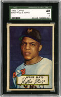 Baseball Cards:Singles (1950-1959), 1952 Topps Willie Mays #261 SGC 40 VG 3....