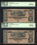 Confederate Notes:1864 Issues, Three Consecutive T68's $10 1864.. ... (Total: 3 notes)