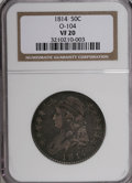 Bust Half Dollars: , 1814 50C VF20 NGC. O-104. NGC Census: (4/38202). PCGS Population(3/351). Mintage: 1,039,075. Numismedia Wsl. Price for NG...