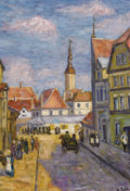 Fine Art - Painting, Russian:Modern (1900-1949), ROBERT FALK (Russian, 1886-1958). Town View. Oil on panel. 24 x 16-1/2 inches (61.0 x 41.9 cm). Signed lower right: R....