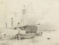 Fine Art - Work on Paper, LEV FELIKSOVICH LAGORIO (Russian, 1827-1905). At Port, 1886. Graphite on paper. 7 x 9 inches (17.8 x 22.9 cm). Signed an...