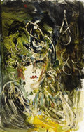 Fine Art - Painting, Russian, ANATOLY ZVEREV (Russian, 1931-1986). Abstract Portrait ofWoman. Oil on cardboard. 30-3/4 x 19-3/4 inches (78.1 x 50.2c...