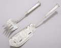 AN AMERICAN SILVER FISH SLICE AND FORK William Gale & Son, New York, New York, circa 1875 Marks: W. GALE &