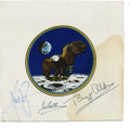 Autographs:Celebrities, Apollo 11 Beta Cloth Mission Insignia Signed by Armstrong, Aldrin,and Collins....