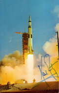Autographs:Celebrities, Neil Armstrong Apollo 11 Launch Color Photo Postcard Signed....