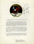 Autographs:Celebrities, Neil Armstrong Typescript Biography Signed with affixed Apollo 11 mission insignia....