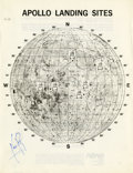 "Autographs:Celebrities, Neil Armstrong ""Apollo Landing Sites"" NASA Lunar Map Signed in bluefelt-tip...."