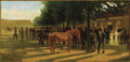Fine Art - Painting, Russian, PETR NIKOLAEVICH GRUZINSKY (Russian, 1837-1892). HorseMarket. Oil on board. 12 x 25 inches (30.5 x 63.5 cm). Signedlow...