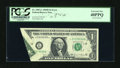 Error Notes:Foldovers, Fr. 1907-L $1 1969D Federal Reserve Note. PCGS Extremely Fine40PPQ.. ...