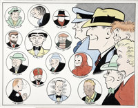 Dick Tracy and His Rogues Gallery Color Illustration Original Art (undated)