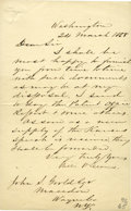 "Autographs:Statesmen, William H. Seward Letter Signed, 1 page, 5"" x 7.75"", Washington, 24March 1858, to John S. Gould, Macedon, N.Y., transmittin... (Total:5 Items)"