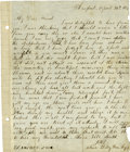 "Autographs:Celebrities, John Wilkes Booth Autograph Letter Signed ""J.W.B. / alias Billy Bow Legs"", 1 page, 8.5"" x 10"", Harfo..."